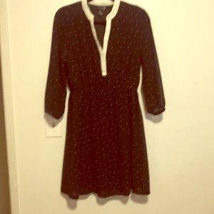 Mid/long sleeve black polka dot dress